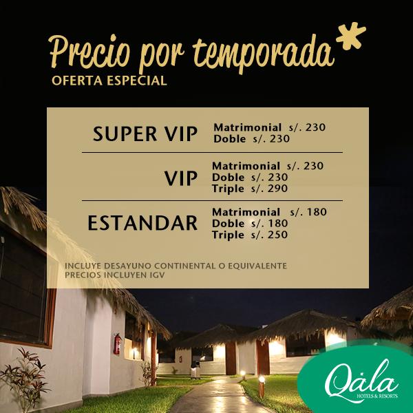 Tarifas corporativas en hotel Qala Chincha